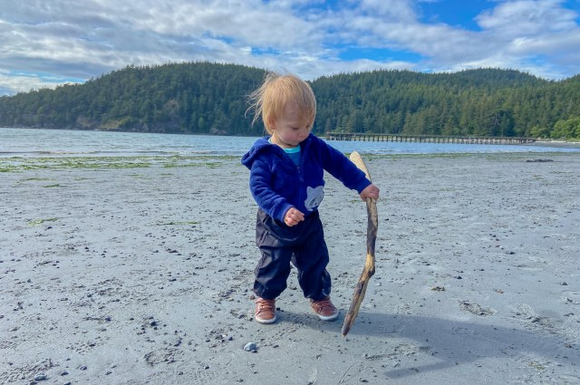 Toddler hiking on the beach, holding a stick