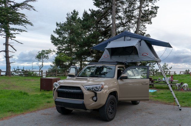 One of the best ways to socially distance is to rooftop tent camp. This car and rooftop tent overlooking the ocean made us feel much safer on our unique Oregon & California coastal adventure!