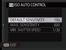 Auto sensitivity settings