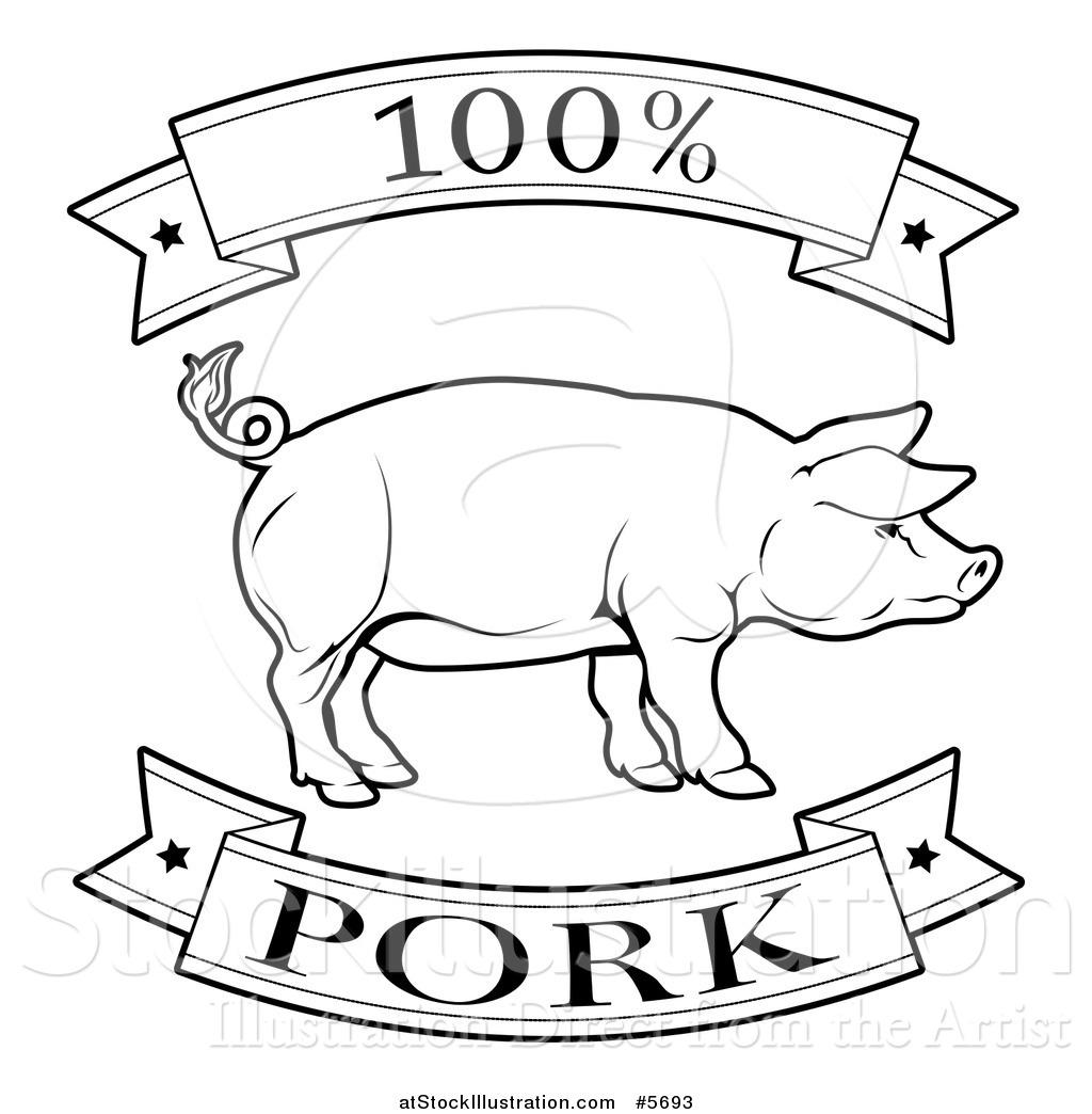 Vector Illustration Of A Black And White 100 Percent Pork