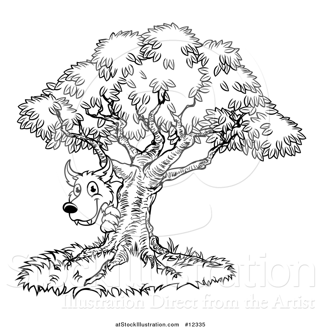 Vector Illustration Of A Black And White Bad Wolf Peeking