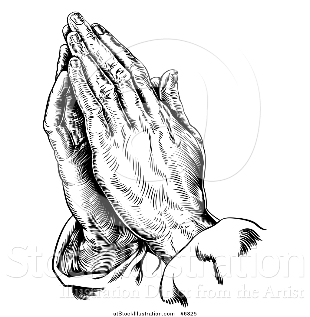 Vector Illustration Of A Black And White Engraved Praying