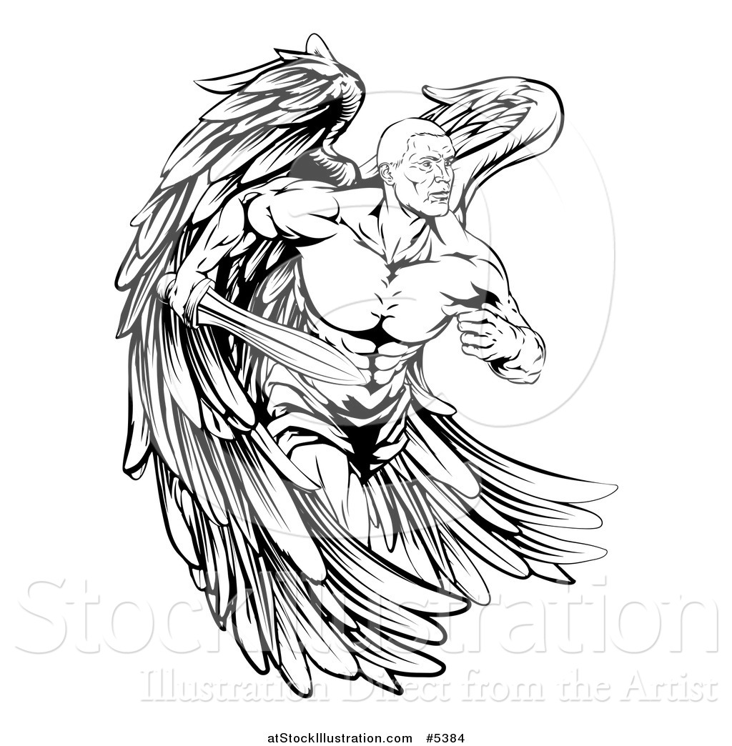 Vector Illustration Of A Black And White Muscular Male