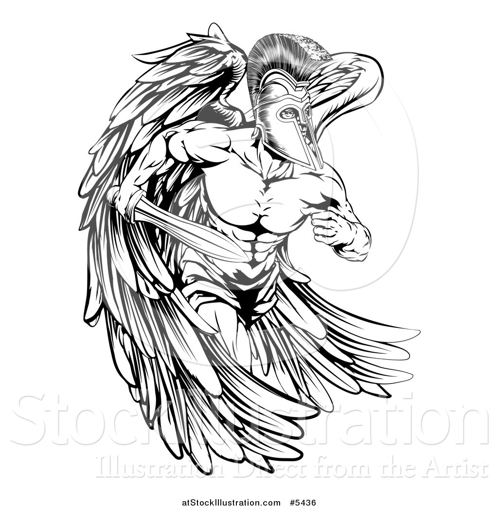 Vector Illustration Of A Black And White Musular Spartan
