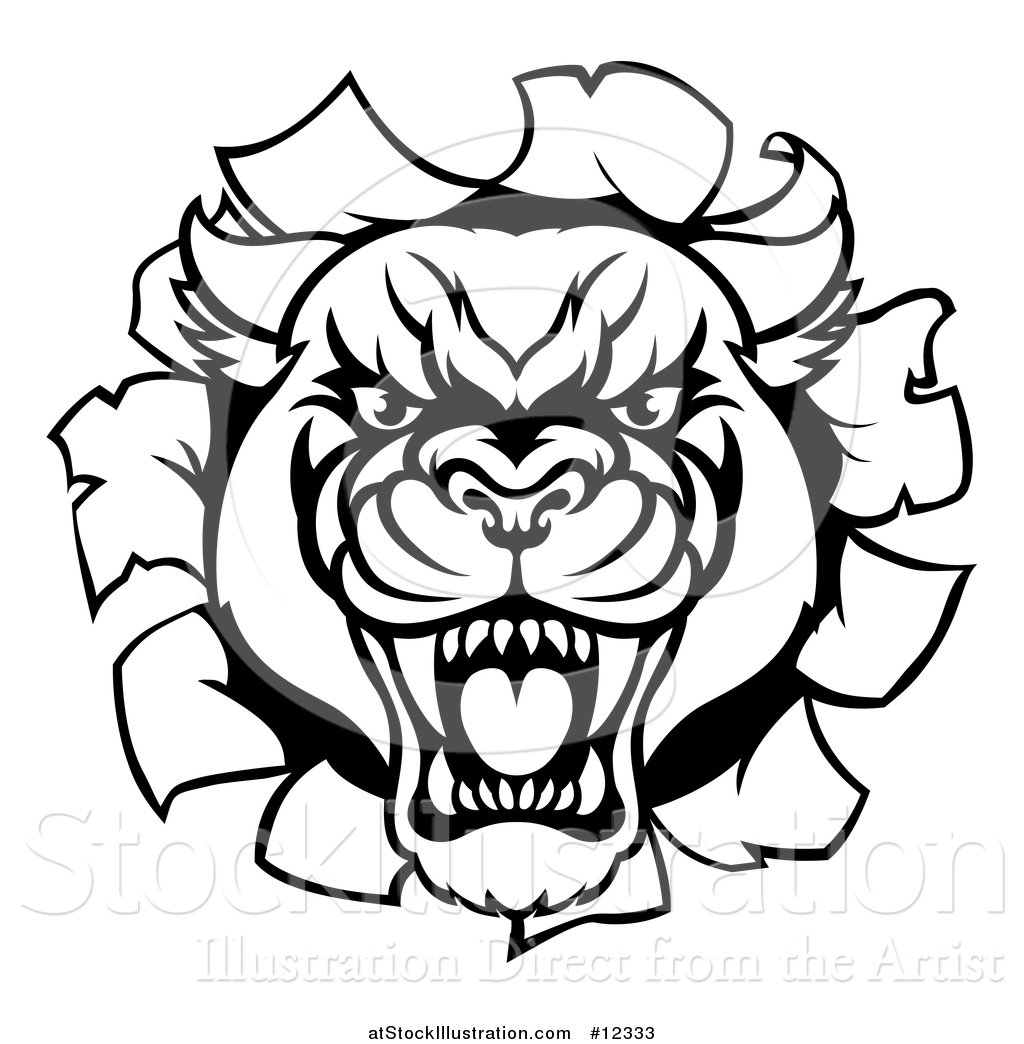 Vector Illustration Of A Black And White Roaring Panther
