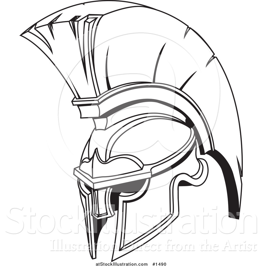Vector Illustration Of A Black And White Spartan Or Trojan
