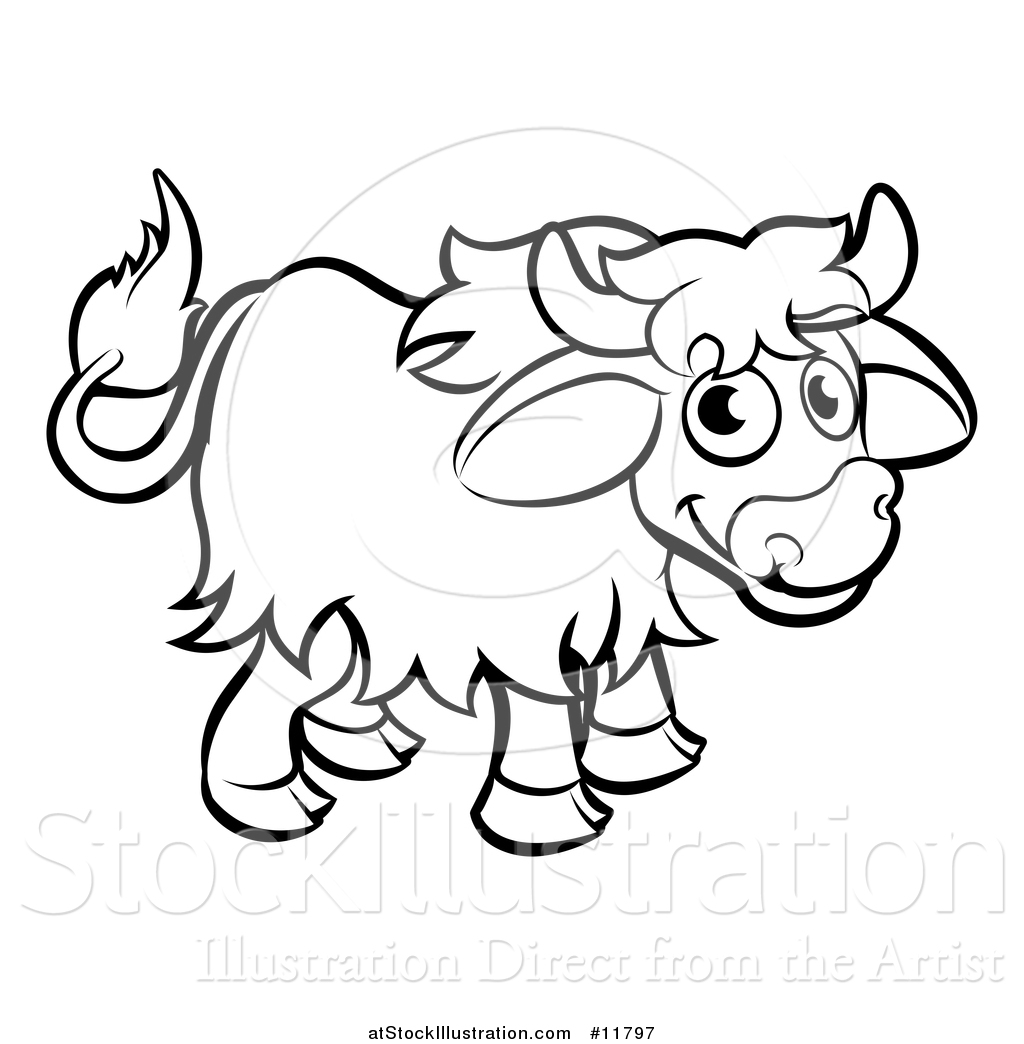Vector Illustration Of A Black And White Yak By