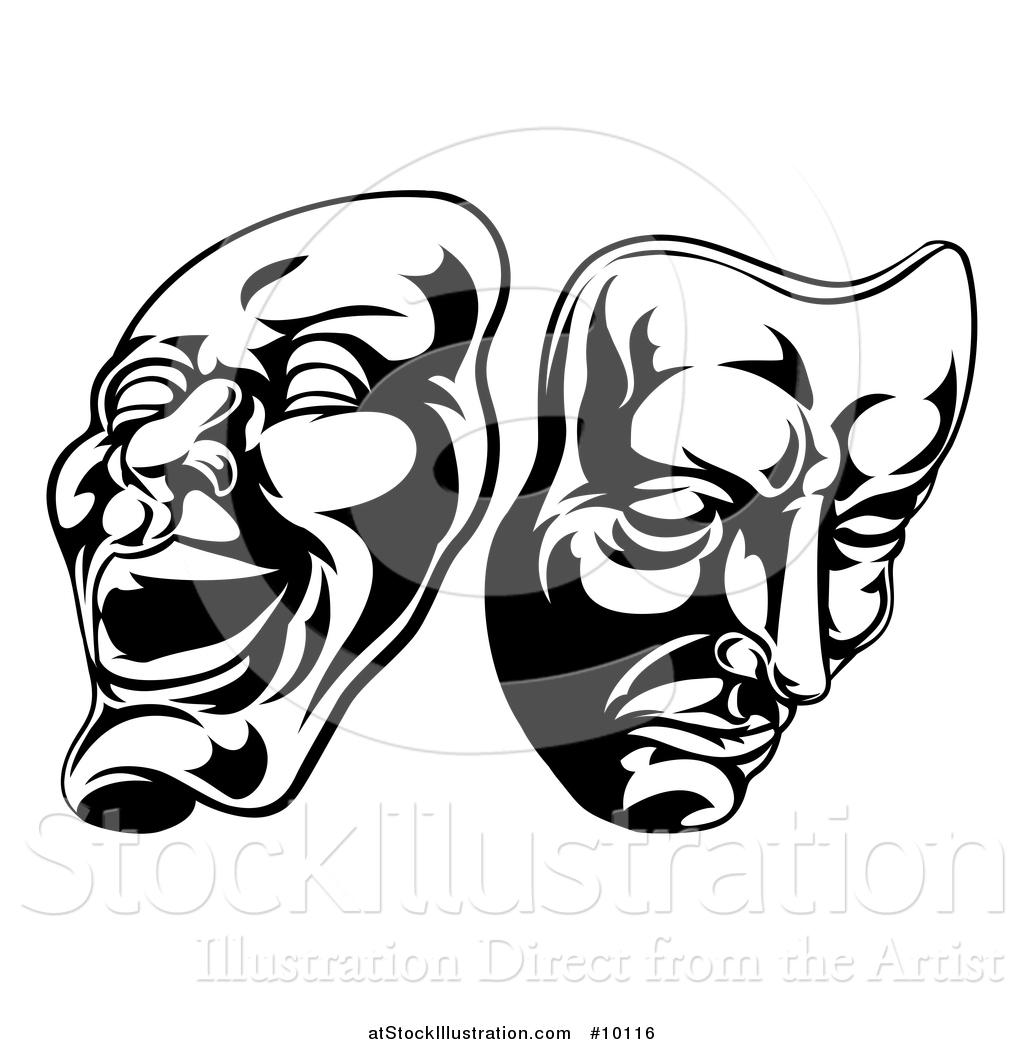 Vector Illustration Of Black And White Comedy And Tragedy