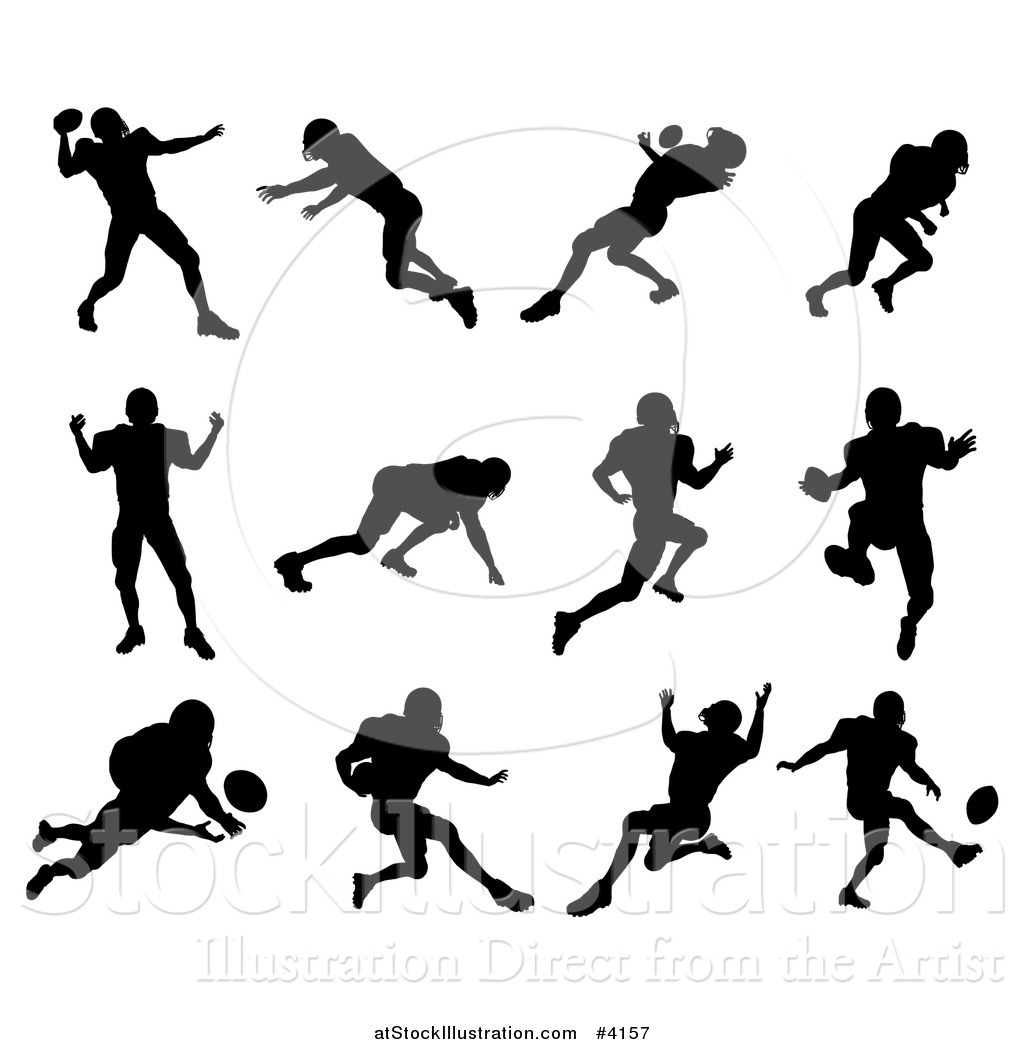 Vector Illustration Of Black Silhouetted American Football