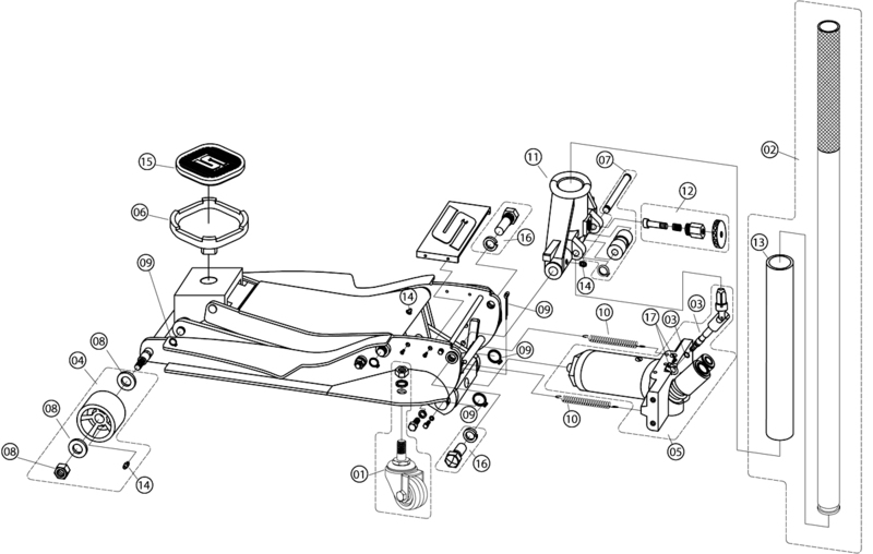 Torin Floor Jack Parts Diagram