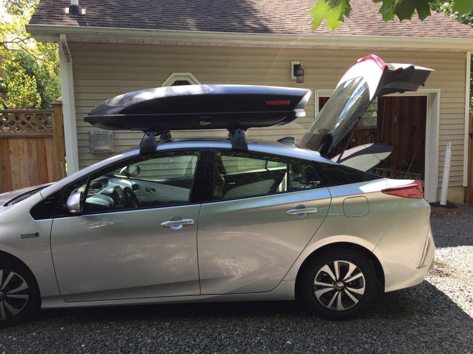 prius prime roof rack cargo box combo