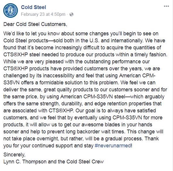 cold steel letter steel