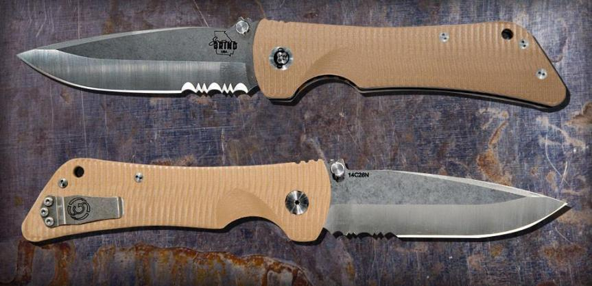 ZAC BROWN'S SOUTHERN GRIND BAD MONKEY DROP POINT SATIN SERRATED with DESERT TAN HANDLE