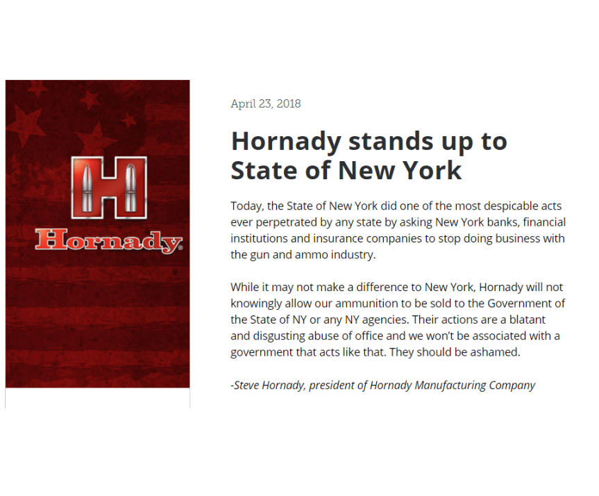 hornady to stop selling ammunition the state of new york and new york angencies.png
