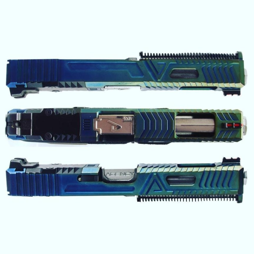 agency arms exa tactical custom glock slide blue glock slide chameleon glock slide 2