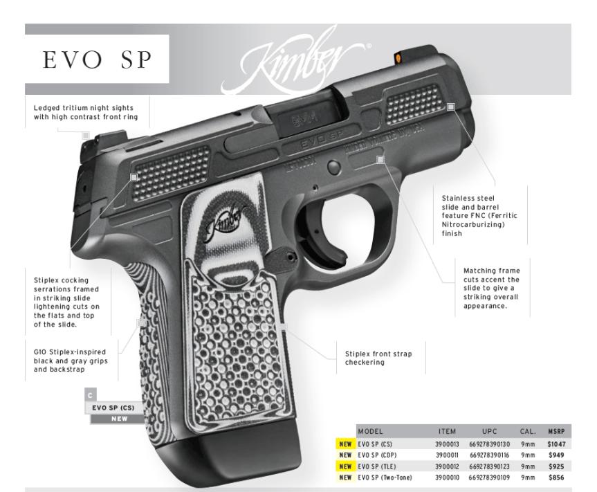 Kimber evo sp 9mm pistol kimber striker firered pistol kimber self defense 1