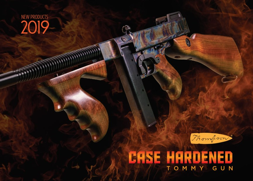 thompson auto ordnance 1927a-1 thompson rifle tommy gun deluxe carbine 45 cal case hardnes rainbow finish gangster gun 1.jpg