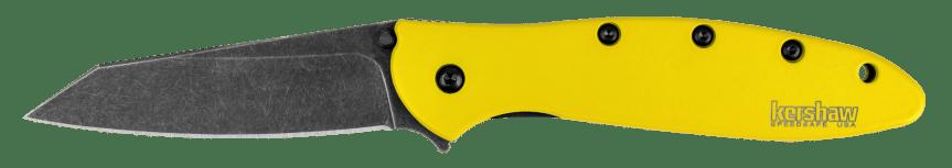 kershaw knives spring run random leek yellow blackwash knife folder knife edc carry blade 1660YLBW 1