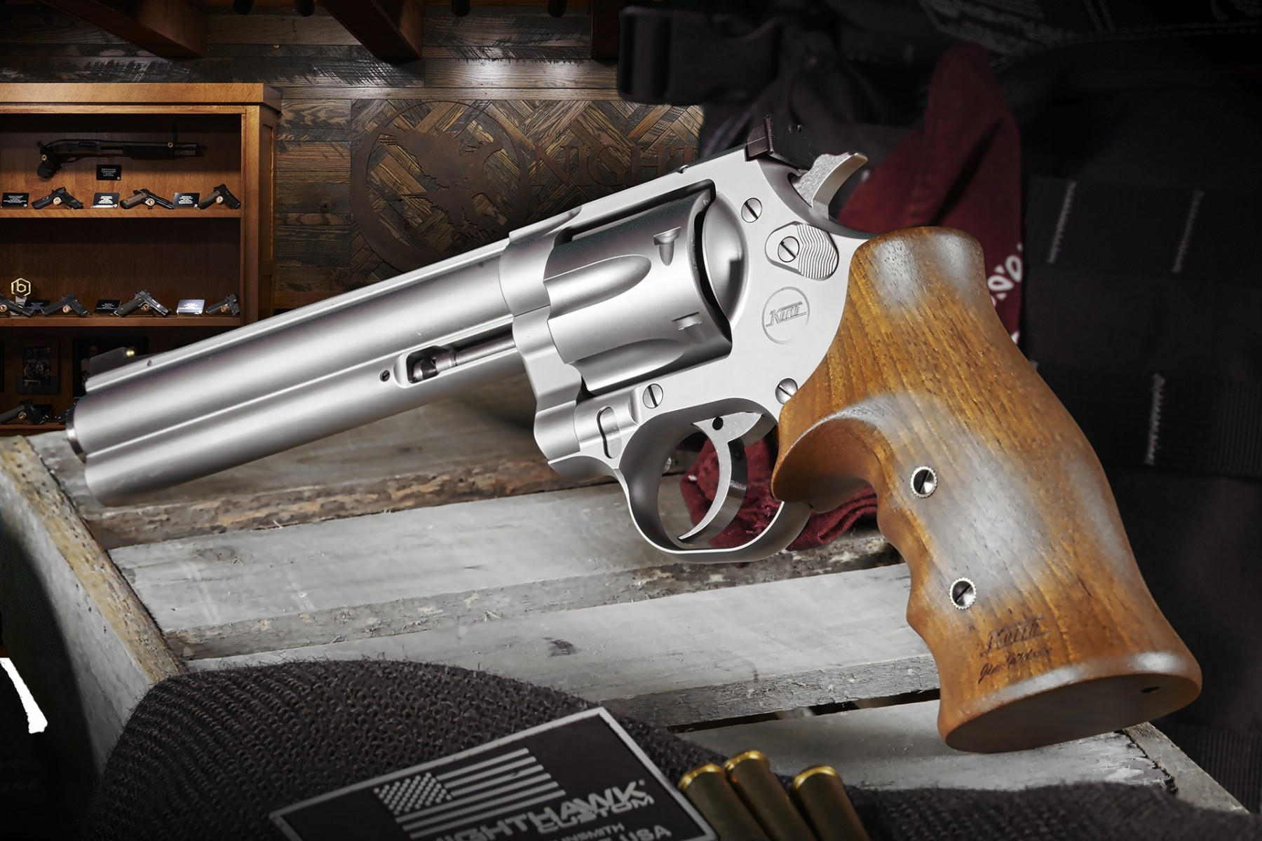 NIGHTHAWK CUSTOM AND KORTH DEBUT THE SILVER MONGOOSE 357 REVOLVER