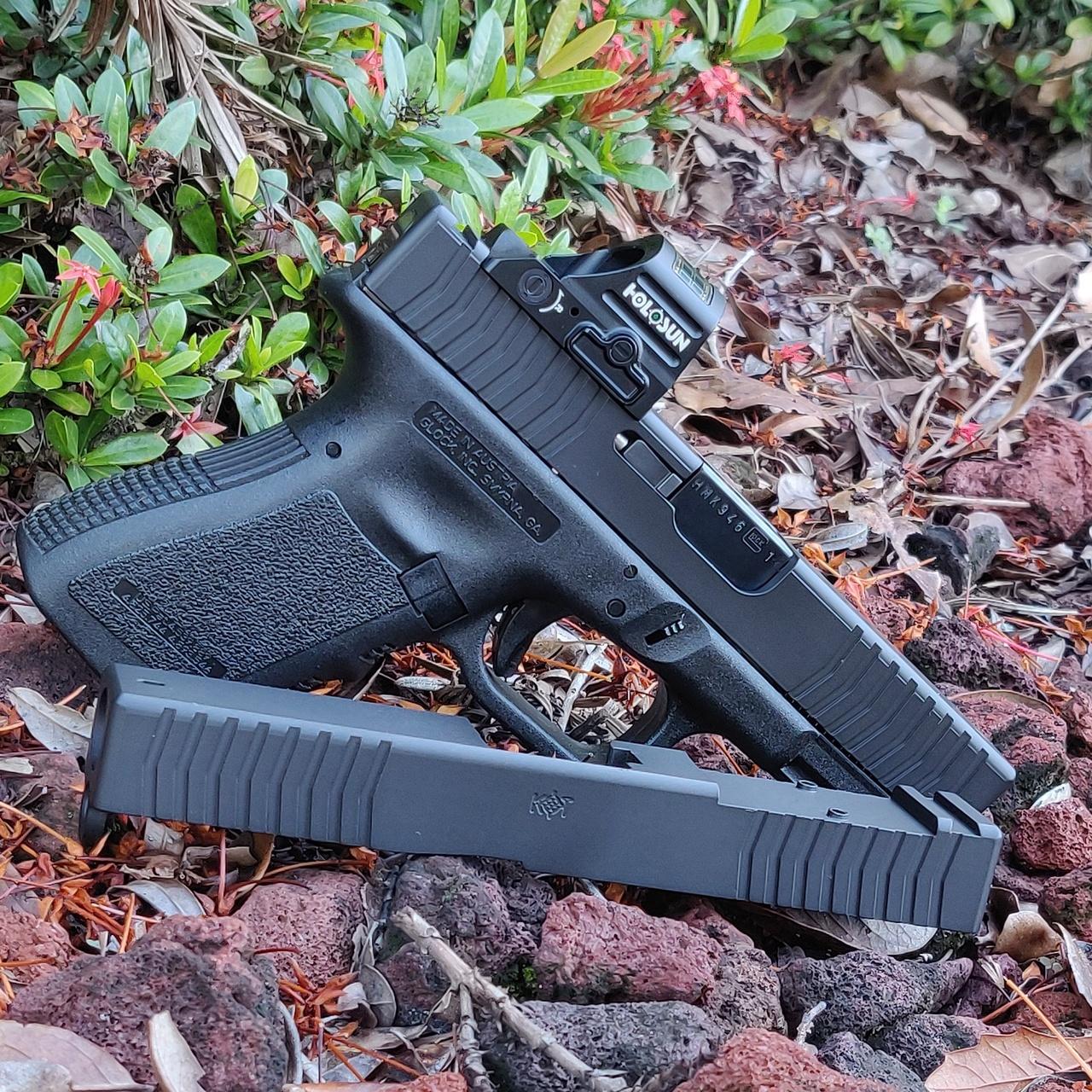 kineti-tech custom glock 19 slide rmr cut front serrations 9mm