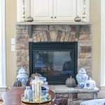 Fall Mantel Decor In Blue White To Cozy Up Your Home For Autumn