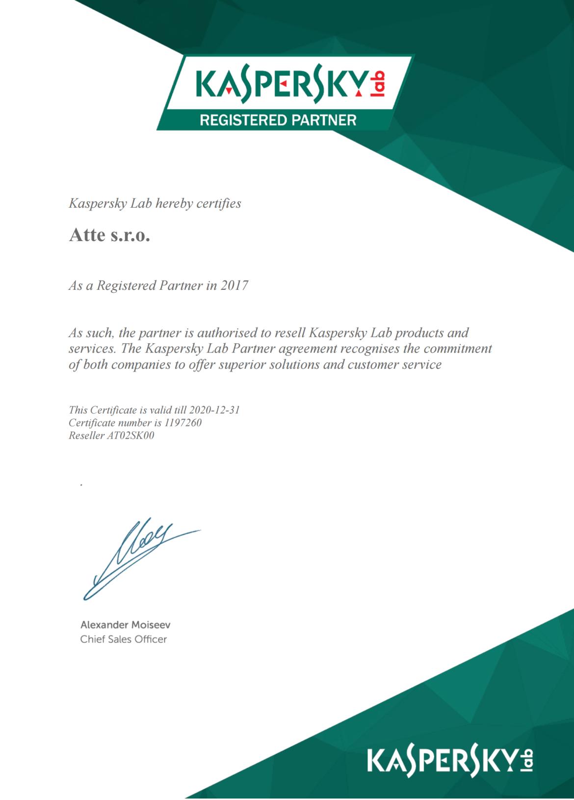 Atte Kaspersky Lab Registered Partner
