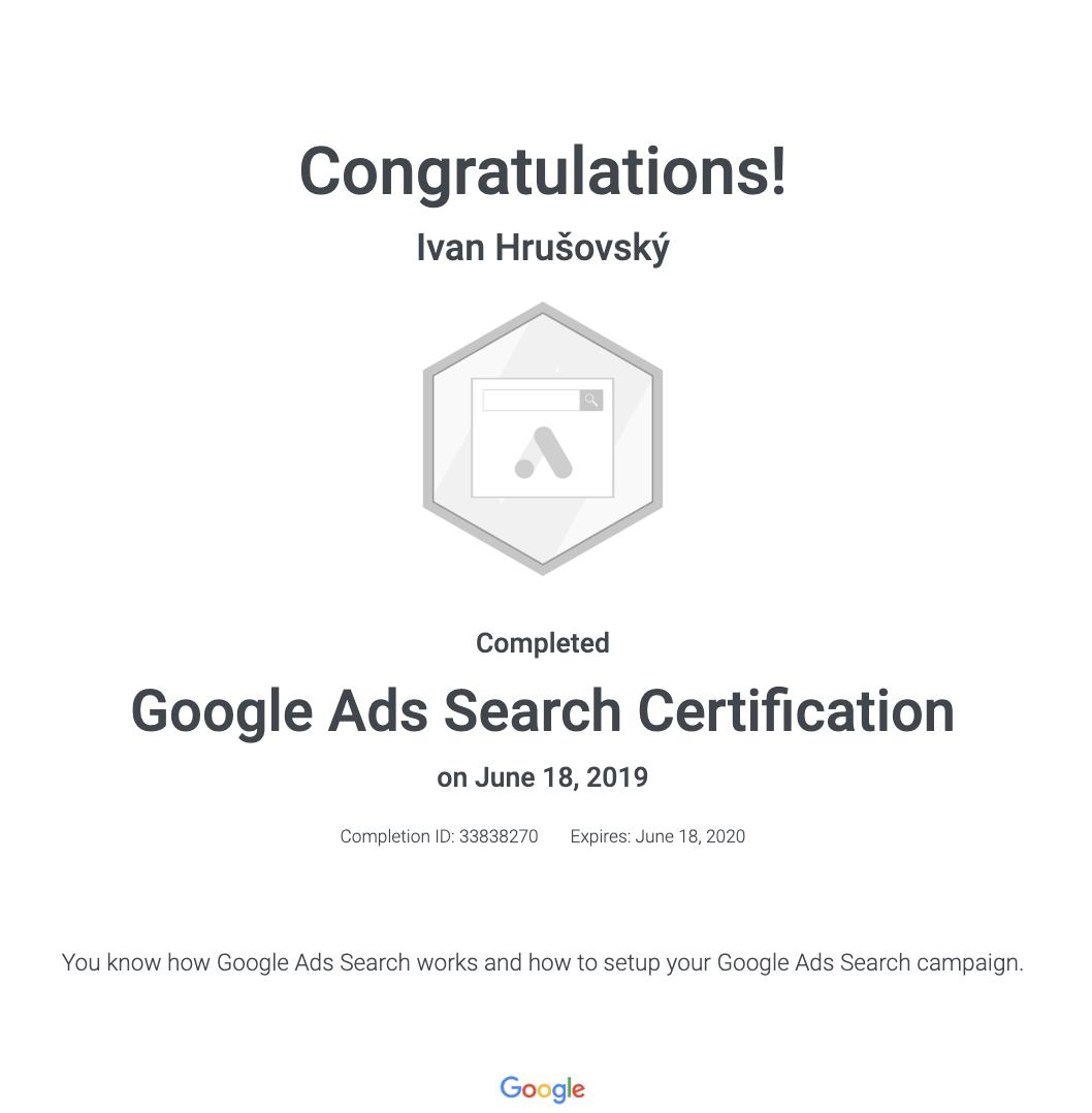 Certifikát Google Ads pre Vyhľadávaciu sieť (Search)