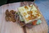 Waffle sandwich w/ duck confit, by Greg and Gabbi Denton of Ox
