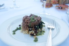 Braised lamb with cous cous, dried fruit and mint pesto. Chef Mark Hosack, Gracie's Restaurant