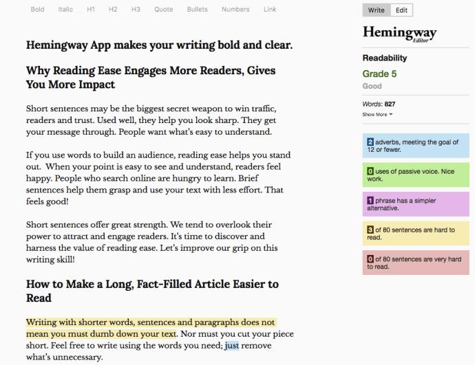 Hemingway readability tool example