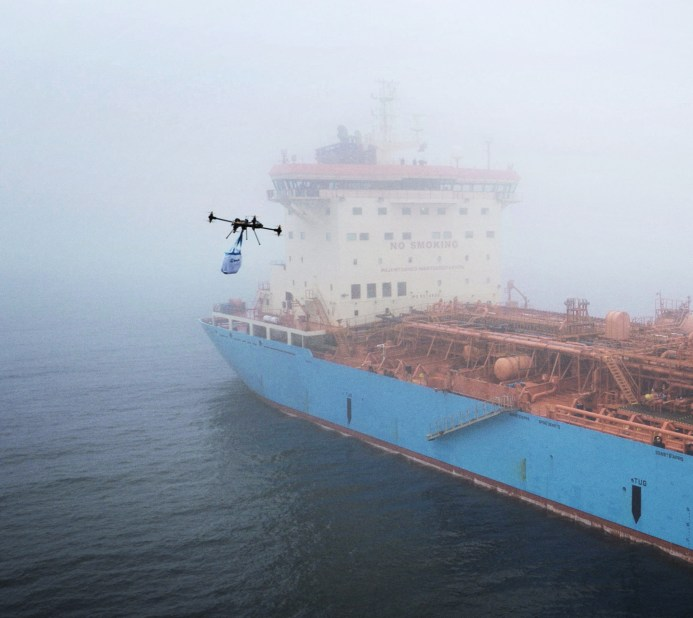 One of the largest companies that have adopted the drone technology in Denmark is Maersk. They use it for delivering packages to their ships when they are at sea. Read more here: http://www.maersk.com/en/hardware/2016/03/flown-out-by-drone
