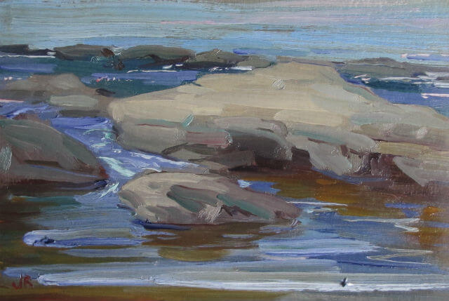 """Rocks at Skinner's Falls II,"" a landscape painting by Judith Reeve"