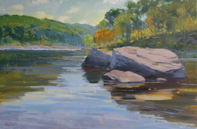 """Below Skinner's Falls,"" a landscape painting by Judith Reeve"