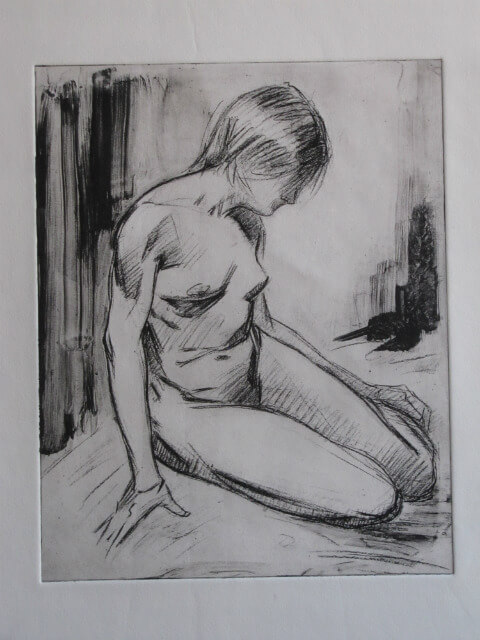 """Seated Nude, Black,"" a print by Judith Reeve"