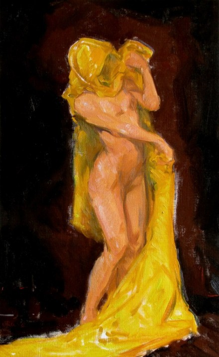 Figure with Yellow Drape, painting by Judith Reeve