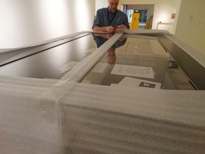 Even the exhibition display cases had to be shipped and unpacked with care!