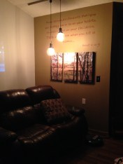New lights and scripture on the family room wall... the projects are done (for now)