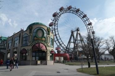 Prater amusement park and famous Riesenrad ferris wheel