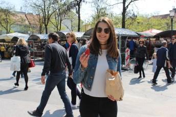 Food market and fresh strawberries!