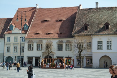 One characteristics of Sibiu's houses are the so called eyes. They present a holy Trinity (normally exist as groups of three) and are said to be always watching what happens in city. Little bit creepy if you ask me...