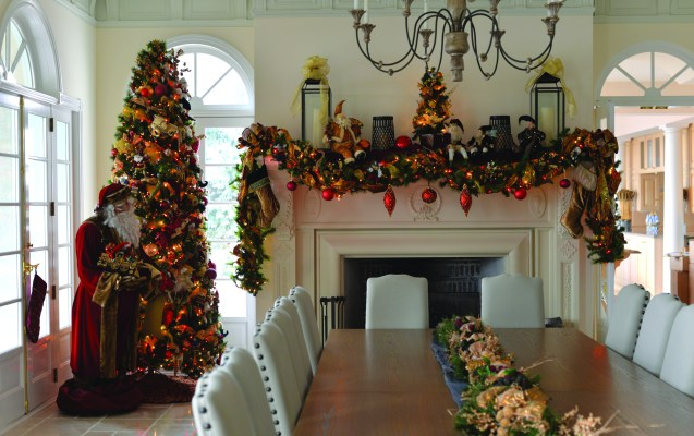 ALTA VISTA: The dining room décor is reminiscent of an Old World Christmas with a Santa Claus holding a customized list.