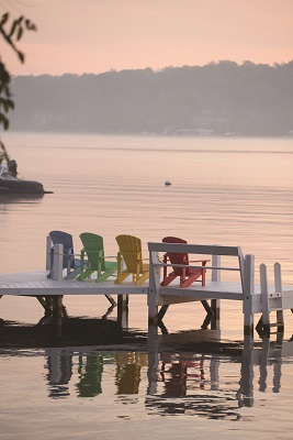 A peaceful setting that evokes thoughts of lazy afternoons at the lake greets those walking the Shore Path near Conference Point in Williams Bay.