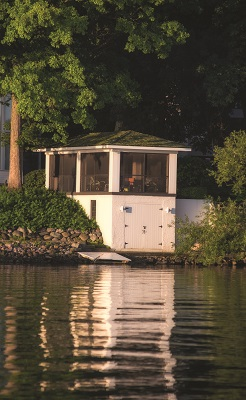 The boathouses shown here span the shoreline from just north of Fontana to the east, along Geneva Lake's south shore. Although this part of the lake was mostly developed after the north shore, it still includes a collection of impressive boathouses.