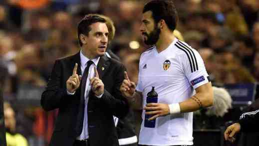 Gary Neville and Phil Neville at Valencia
