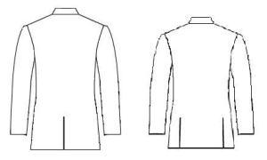 A jacket with one vent and a jacket with two vents