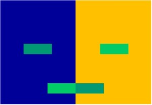 Two shades of green: once on a blue background and once on an orange one. See how your perception changes?