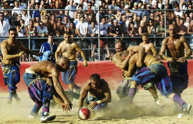 Calcio Fiorentino is a combination of fighting, boxing, rugby and soccer and takes place only once a year in Italy