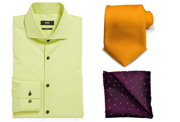 A green shirt makes a good combination with an orange tie, and a violet pocket square. Notice how the color scheme follows the rule