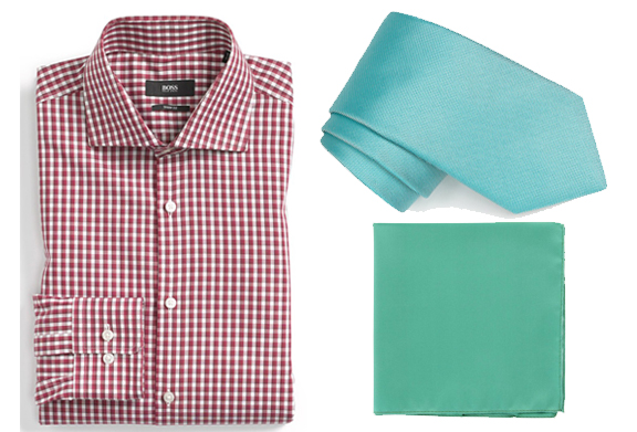 A purple checkered shirt goes great with a turquoise tie and an aqua-green pocket square. The more shades you use, the more subtle your outfits will be.