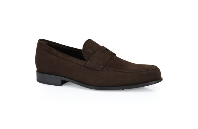 A suede loafer